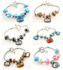 GRACEFUL Lampwork Glass Gemstone Silver European Beaded Charm Clasp Bracelet A