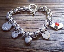 Stainless Steel Hand Stamped Personalised Rolo Toggle Bracelet with Charms