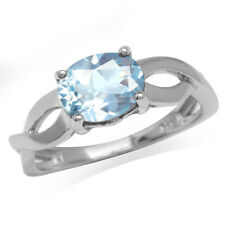 2.17ct. Genuine Blue Topaz White Gold Plated 925 Sterling Silver Solitaire Ring