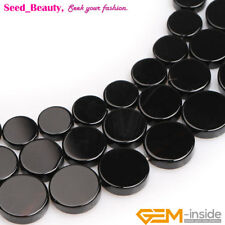 "Natural Stone Black Agate Gemstone Jewelry Making Beads Strand 15"" Coin/Button"