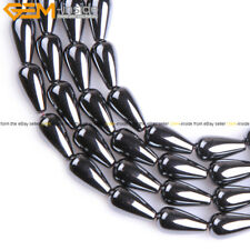 """Natural Black Jet Hematite Tear Drop Beads Stone For Jewelry making Strand 15"""""""