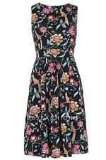 STELLA MORGAN VINTAGE BIRD FLORAL PATTERN FIT FLARE DRESS NAVY 10 12