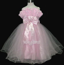 Pink Rosette Pageant Wedding Flower Girls Party Dress Gown Size 3-12 Age 2-13 T