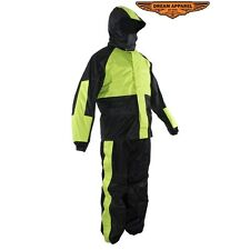 Black & Fluorescent Rain Suit With Hood & Zippered Side Seam Small-4XL RS26-Hood