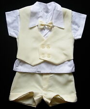 Cream Ivory BABY BOY SHORTS OUTFIT Special Occasion Christening Wedding Suit
