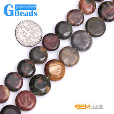 Natural Picasso Jasper Gemstone Coin Flatback Beads Free Shipping Strand 15""