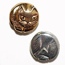 KITTY CAT BEAD ANTIQUED SILVER OR GOLD PEWTER LARGE TWO SIDED 13MM 4 BEADS PB1