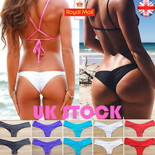 UK Womens Bikini Brazilian Cheeky Ruched Bottom Thong V Swimwear Swimsuit