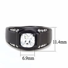 1Ct Cushion CZ Center w Side Stone Black IP Stainless Steel Mens Wedding Ring