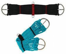 WESTERN HORSE SADDLE BLACK BLUE ROPE CINCH GIRTH W/D RINGS 18 20 22 24 32 34 36