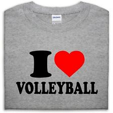 I LOVE VOLLEYBALL T SHIRT TOP HEART GIFT MEN GIRL WOMEN BOY BEACH SPORT