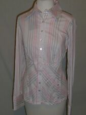 ETCETERA Candy Pink Striped Stretch Shirt Blouse Top w/ BUTTONS 2 or 4 NWT $175