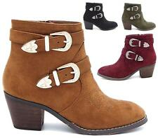 WOMENS ANKLE BOOTS LADIES BUCKLE ZIP BLOCK MID HEELS SHOES COWBOY SIZE