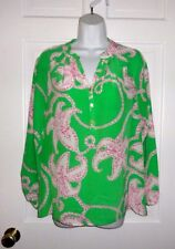 LILLY PULITZER GREEN WITH PINK AND WHITE FLOWERS ELSA SILK TOP BLOUSE  XS