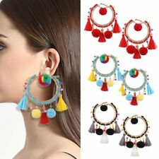 Boho Vintage Dangle Circle Rainbow Beaded Tassel Fringe Earrings Women Jewelry