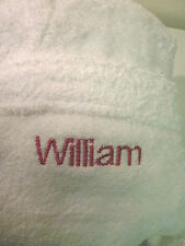 Cotton Terry Towelling Robe Personalised with NAME on FRONT choice 4 font types