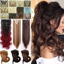 Long 100% Natural Clip In Hair Extensions Long Straight Curly Wavy 18Clips On FO