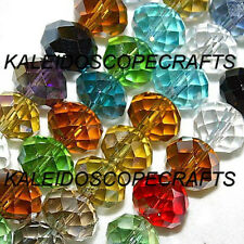 GLASS BEADS FACETED RONDELLE DISCS BEAD 8X10MM 8 COLORS TO CHOOSE LARGE STRAND