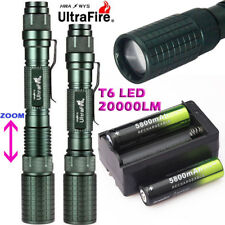 20000LM Zoomable XM-L T6 LED 18650 Flashlight Torch Lamp Light+Battery+Charger