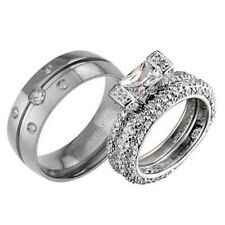 His and Hers Wedding Rings 3 pcs Engagement CZ Sterling Silver Titanium Set AG