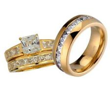 His and Hers Wedding Rings 3 pcs Engagement CZ Sterling Silver Titanium Set K