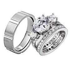 His and Hers Wedding Rings 3 pcs Engagement CZ Sterling Silver Titanium Set CA