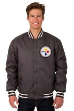 Pittsburgh Steelers NFL Poly Twill Jacket Charcoal Embroidered Logos Licensed