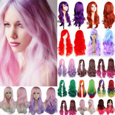 Long Hair Cosplay Wig Women Lady Curly Wave Straight Synthetic Hair Full Wigs M