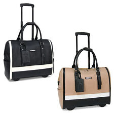 Cabrelli Sofia Classic Womens Rolling Laptop Bag Wheeled Case Carry-on Briefcase