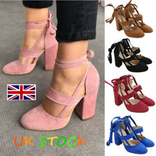 UK Womens Lace Tie Up Ankle Strap Sandal Block High Heels Party Closed Toe Shoes