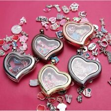 Living Memory Floating Charms Glass Locket Pendant Necklace Jewelry + Free Chain