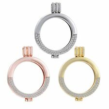 35MM Fashion Crystal Coin Holder Locket Pendant For DIY Necklace Jewellery Gift