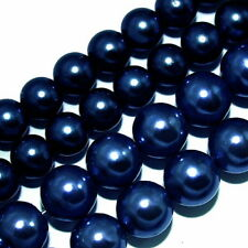 GLASS PEARLS JEWELRY BEADS DARK BLUE COLOR 4MM 6MM FAUX PEARL BEAD STRAND GP26