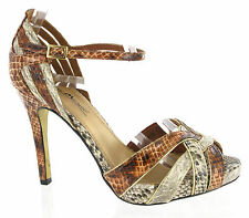 Anne Michelle Snake Style Brown Beige Strappy Party Womens Heels UK4-7