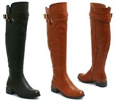 WOMENS LADIES FLAT LOW HEEL KNEE HIGH WIDE CALF BUCKLE STRAP RIDING BOOTS SIZE