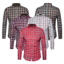 Mens Luxury Button Plaid Casual Dress Shirts Long Sleeve Check Fitted Tops