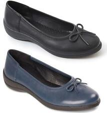 Padders ROXY Ladies Womens Genuine Leather Wide Fit (E) Slip On Pump Flat Shoes