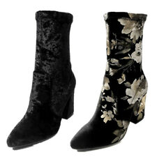 Fashion Floral Velvet Mid Calf Boots Womens Pointed Toe High Chunky Heels Shoes