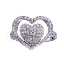 Sterling Silver Round Cubic Zirconia Heart Women Jewelry Wedding Engagement Ring