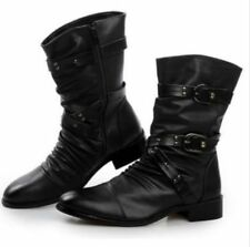 Mens Fashion Leather Cool Motorcycle Ankle Boots With Studs Buckle Mens Shoe