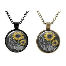 Vintage Sunflower You Are My Sunshine Glass Bronze Chain Pendant Necklace