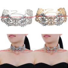 Fashion Jewelry Chain White Crystal Collar Choker Statement Pendant Bib Necklace