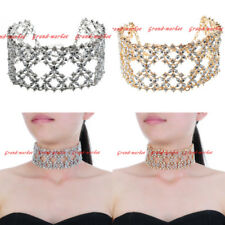 Fashion Jewelry Chain White Crystal Collar Choker Chunky Statement Bib Necklace