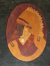VTG MARQUETRY INLAY TRAMP ART WOOD FOLK PICTURE NATIVE AMERICAN INDIAN OLD CHIEF