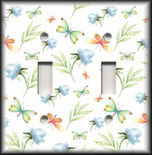 Metal Light Switch Plate Cover Flowers Leaves Butterflies Home Decor Butterfly