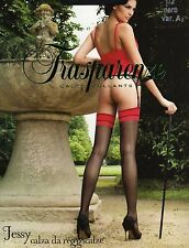 Trasparenze Jessy Stockings, Tights for Attach, Black with red seam