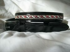 NEW! BLING*Ladies PATENT Leather Belt*Crystals Design*Dressage/Fashion*BLACK