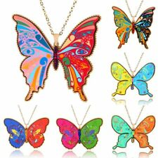 Women Fashion Printing Butterfly Pendant Necklace Long Sweater Chain Jewellery