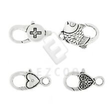 10pcs Lobster Claw Clasp Antique Silver Other/Fish/Heart Jewelry Finding Lots YB