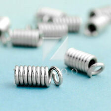 30g Nickel Plated Cord Coils Terminators Tips End Caps Crimp Fasteners 4 Sizes